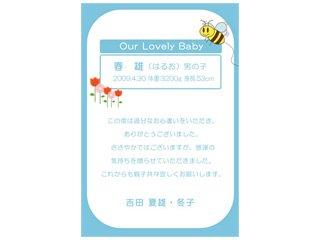 出産内祝いメッセージカード(写真なし)[ハガキサイズ(ライトブルー)]