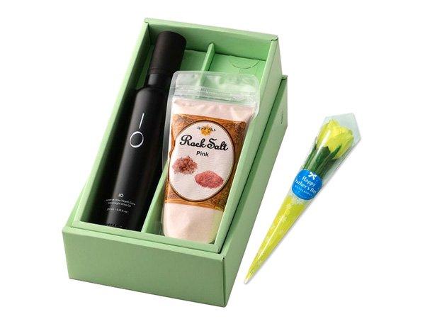 【父の日専用ギフト】【送料込み】ミニフラワー&オリーブオイルIO(イオ) と ヒマラヤ岩塩ギフトセット(黄色いバラ&高級調味料ギフトセット)