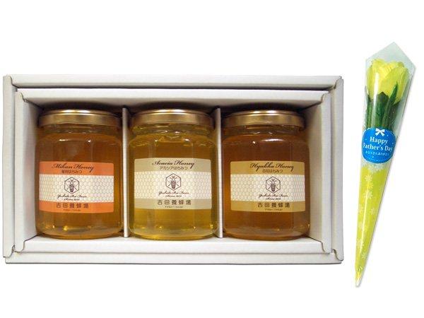 【父の日専用ギフト】ミニフラワー(黄色いバラ)&国産蜂蜜160g 3本ギフトセット