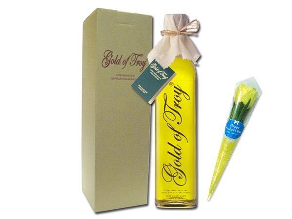 【父の日専用ギフト】 ミニフラワー&オリーブオイル ゴールドオブトロイ ストレートボトル 500ml ギフト
