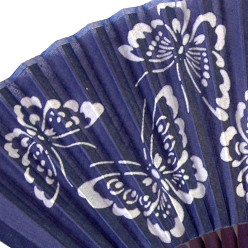 藍染扇子(せんす)蝶柄 本場阿波徳島の伝統工芸品 天然の藍染製品!父の日/母の日/敬老の日詳細画像