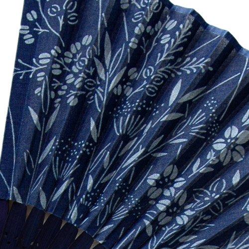 藍染扇子(せんす)七草  本場阿波徳島の伝統工芸品 天然の藍染製品!父の日/母の日/敬老の日詳細画像