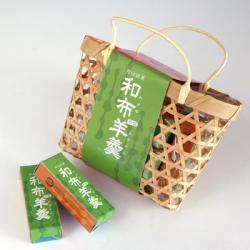 わかめ羊羹(ようかん) ミニ竹かご7個入り 食べ切りやすい小さいサイズ!(日の出楼)