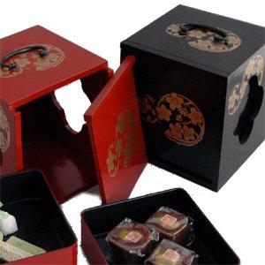 【送料無料】遊山箱(ゆさん)朱色 懐かしい手提げ弁当箱は徳島の文化・風習!詳細画像