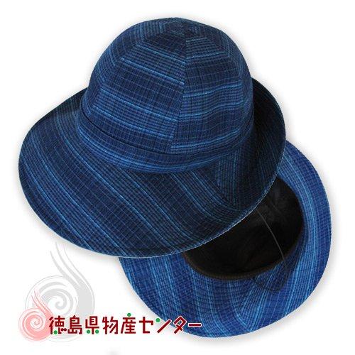 阿波しじら織 帽子(女性用)格子柄【母の日】【敬老の日】詳細画像
