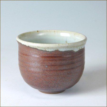 大谷焼の湯呑 鉄赤短