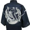 【当店オリジナル!】しじら織り甚平 鯉と枝垂れ桜(黒)(紺)