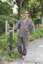 完全日本製!綿100% ストライプ作務衣(さむえ)全3色(紺・茶・黒)