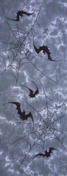 【日本製】手ぬぐい 蝙蝠に蜘蛛の巣  四季の手ぬぐい コウモリにクモ