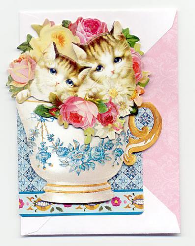 キャットティーカップカード【輸入文房具】グリーティングカード