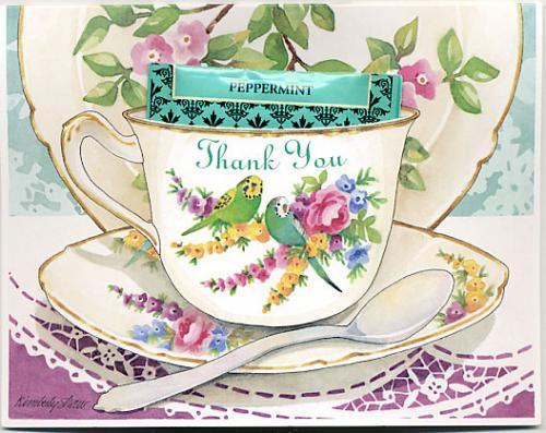 グリーティングカード「ありがとう Thank You」ティーカップ型カード