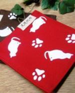 帆布猫柄プリントコースター 【帆布】 2枚組