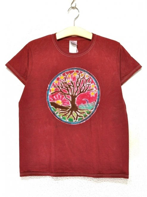 【WOMEN'S】TREE OF LIFECOTTON100%Color:RED   Size:M- PAPA LINDSEY MODERN BATIK -