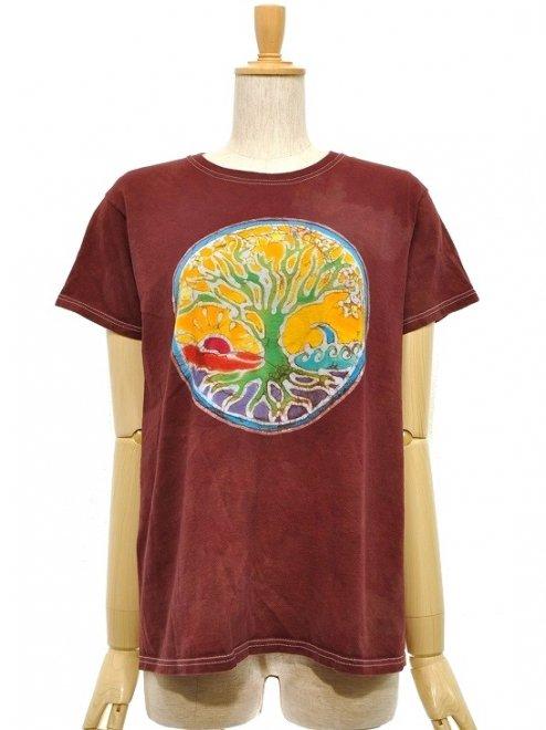 【WOMEN'S】TREE OF LIFECOTTON100%Color:BROWN   Size:M- PAPA LINDSEY MODERN BATIK -