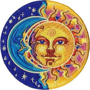 sun face moon face starサンアンドムーンワッペンsize 直径81mm usa