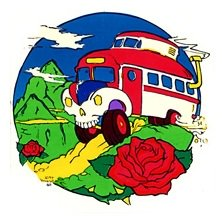 SKULL BUS IN MOUNTAINS WITH ROSE STICKERステッカーColor:ONE    Size:縦12cm×横11.5cm- USA STICKER -