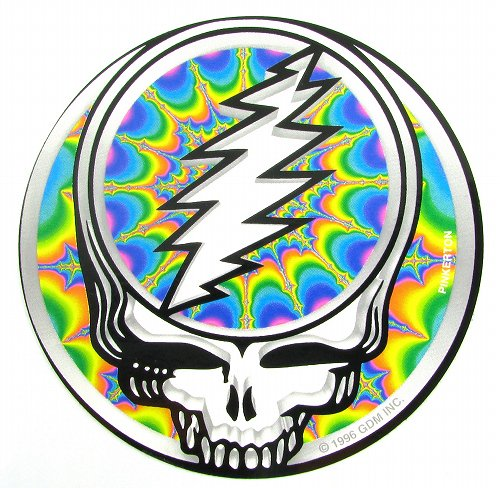 GRATEFUL DEAD FRACTAL STEAL YOUR FACE STICKERステッカーColor:ONE    Size:直径12.5cm- USA STICKER -