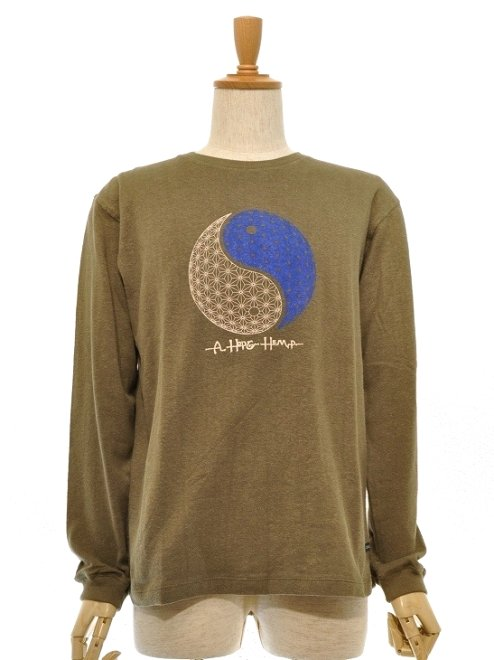 "【MEN'S】""I & H""REGULAR L/S TEEH55%,C45%Color:ARMY OLIVE   Size:S/M- A HOPE HEMP -"