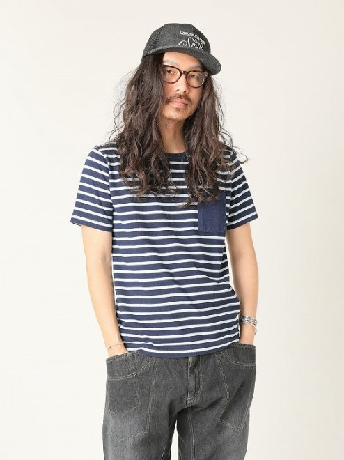 【MEN'S】INDIGO BORDER S/SL PK TEEH/O...