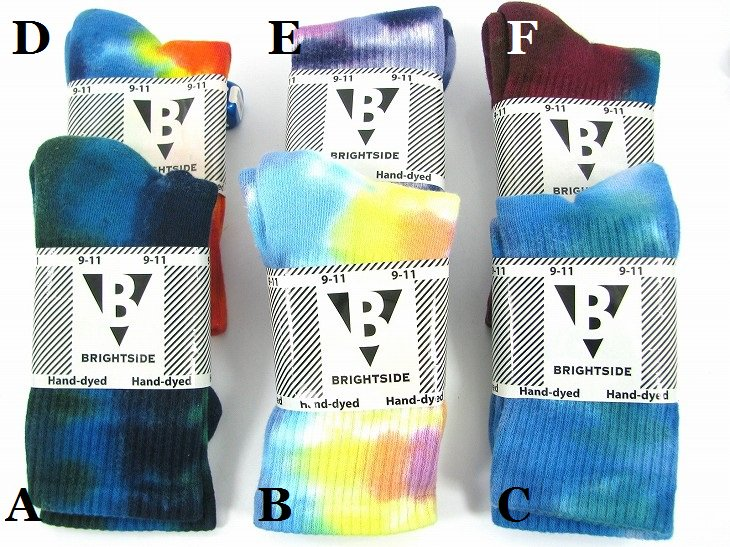 TIE DYE CREW SOCKSCOTTON93%NYLON7%Color:6色展開 Size:US9-11(21cm-26cm)- BRIGHTSIDE -