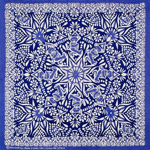 GRATEFUL DEAD DANCING BEAR BANDANAC100%Color:BLUE   Size:約55cm x 約55cm- GYPSY ROSE -