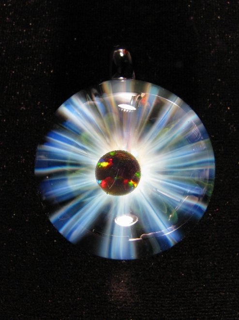 """""""EYE OF GOD OPAL"""" PENDANTH44mm x W32mm- TIEMEYER GLASS -"""
