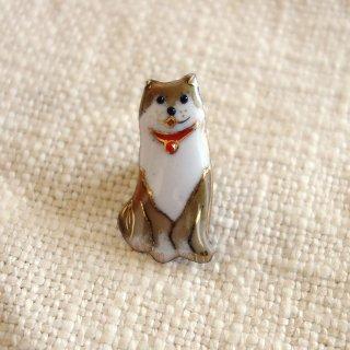 柴犬の七宝焼ピンブローチ(ピンバッジ)  -1