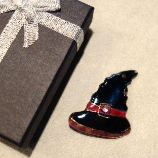 ハロウィンの帽子の七宝焼ブローチ B