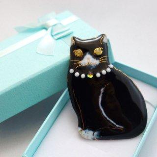 ブローチ ねこ2019 (黒猫ネックレス)