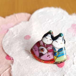 雛人形の七宝焼ピンブローチ(ピンバッジ)7