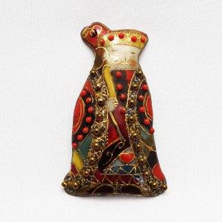 「不思議の国のアリス」の七宝焼ブローチ 2020版 ハートの王(キング)