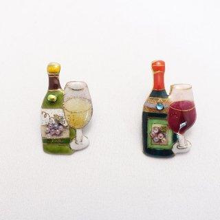 ワインボトル&グラスの七宝焼ピンブローチ(ピンバッジ) [赤/白]