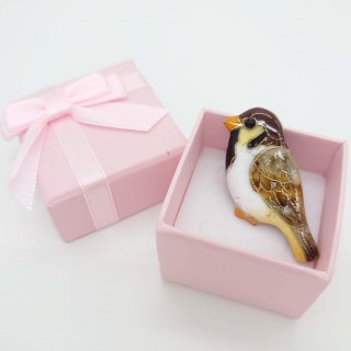 [受注制作]スズメの七宝焼ピンブローチ(ピンバッジ)