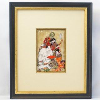 [限定一点物!]七宝焼の浮世絵額「勝川春吉 江戸三幅対」