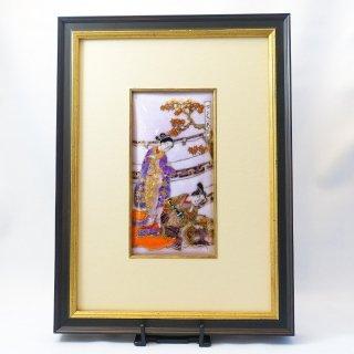 [限定一点物!]七宝焼の浮世絵額「鈴木春信 風流うたひ八景 紅葉狩夕照」