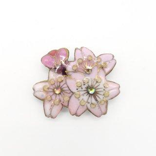 [受注制作]桜の七宝焼ブローチ ミニ1※帯留に変更可