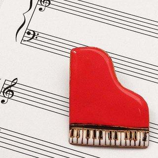 ピアノ[赤]の七宝焼ブローチ ※文字あり・なし両方対応