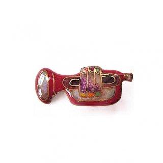 ピンブローチ(ピンバッジ,ピンズ) トランペット(赤)