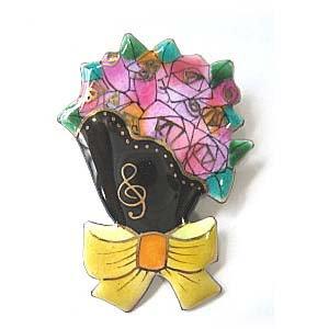 花束の七宝焼ブローチ