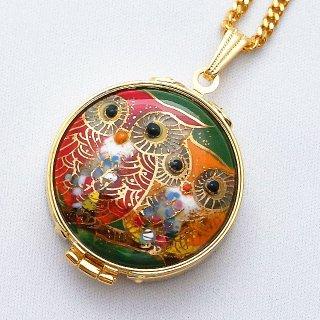 ふくろうペアの七宝焼のルーペペンダント[赤&オレンジ]