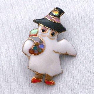 ハロウィンの帽子オバケの七宝焼ブローチ