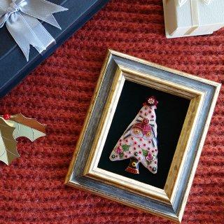 クリスマスツリー(ピンク)の七宝焼飾り額