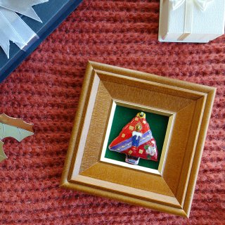 ミニクリスマスツリー(赤)の七宝焼飾り額