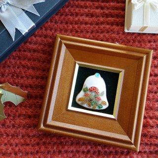 ミニ クリスマスベル(赤いキノコ)の七宝焼飾り額