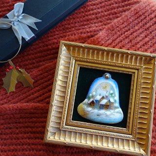 クリスマスベル(雪の教会)の七宝焼飾り額