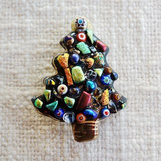クリスマスツリーの七宝焼ブローチ (2)