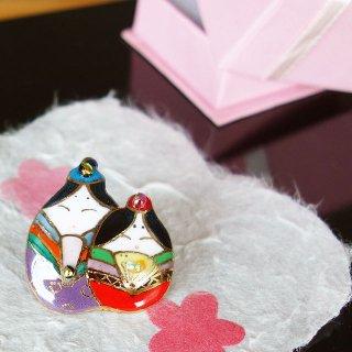 雛人形の七宝焼ピンブローチ(ピンバッジ)2