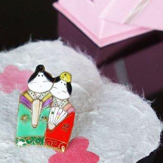 雛人形の七宝焼ピンブローチ(ピンバッジ)3