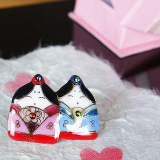 雛人形の七宝焼ピンブローチ(ピンバッジ)4
