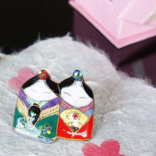 雛人形の七宝焼ピンブローチ(ピンバッジ)5